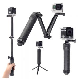 Selfie Stick Monopod LEDISTAR LDX-P3 3-Way for GoPro and Photograph Machines Extendible Black (Closed 20cm