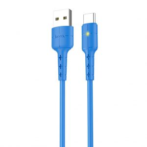 Data Cable Hoco X30 USB to Type-C Fast Charging 2.0A Blue with LED Indicator 1.2 m.