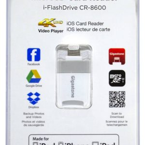 Gigastone i-FlashDrive CR-8600 iOS Card Reader MFI White for iPhone & iPad & iPod