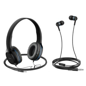 Headphone Stereo Hoco W24 Enlighten Blue with Microphone and extra Earphones 3.5mm