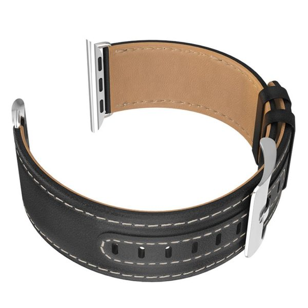 Watchband Hoco WB04 Duke series 44mm with Black Leather Wristlet and Stainless Steel Buckle Strap for Apple Watch series 4/3/2/1