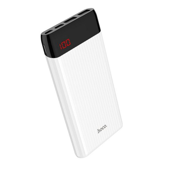 Power Bank Hoco J28 Shock Power 10000mAh with Dual USB and USB-C /  Micro-USB Input 2.0A and LED Indicator White