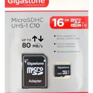 Flash Memory Card Gigastone MicroSDHC UHS-1 16GB C10 Professional Series with Adapter up to 80 MB/s*