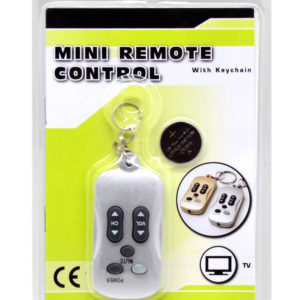 Universal Keychain Remote Control for TV Silver with Battery CR2025 1 Pcs