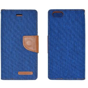 Book Case Goospery Canvas Diary for Apple iPhone 6/6S Blue - Brown by Mercury