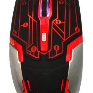 Wired Mouse R-horse RH-1990 Robocop Series with 5 Buttons and 3200 DPI Black - Red