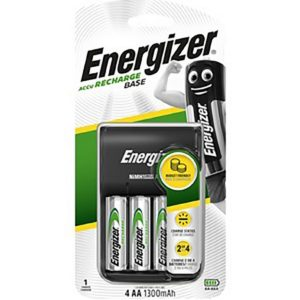 Battery Charger Energizer ACCU Recharge Base with AA/AAA with 4 ΑΑ Batteries 1300mAh Included with LED Charge Indicator