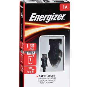 Energizer Car Charger 1A + MicroUSB Cable Black