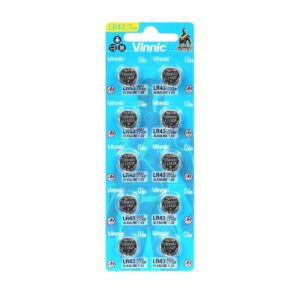 Buttoncell Vinnic LR1142F AG12 LR43 Τεμ. 10 with Perferated Packaging