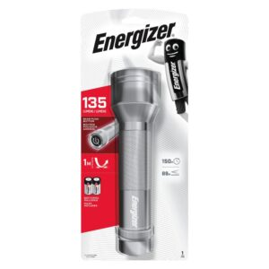 Torch Energizer 2D Metal LED 135 Lumens with 2 D Batteries. Silver
