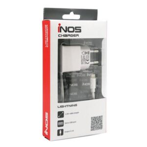 Travel Charger inos Lightning with Extra USB Output White 2.1A