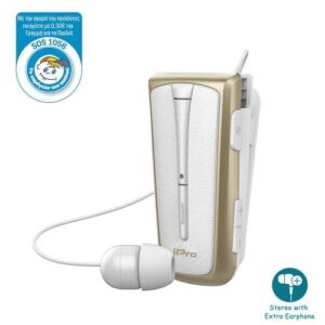 Stereo Bluetooth Headset iPro RH219s Retractable with Vibration White-Gold