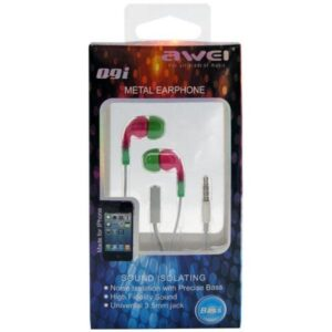Hands Free Stereo Awei Q9i Apple iPhone 6 3.5m with Small Earphones & On/Off Pink-Green
