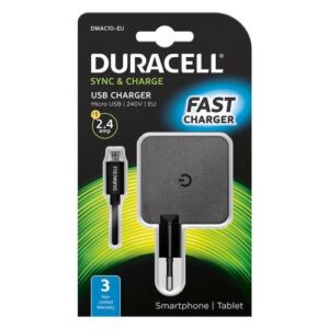 Travel Charger Duracell with Single USB 2.4Α & Micro USB Cable 1m Black