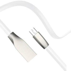 USB 2.0 Flat Cable inos USB A Micro USB Aluminium Series 1m White
