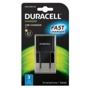 Travel Charger Duracell with Single USB 2.1A Black