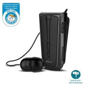 Stereo Bluetooth Headset iPro RH219s Retractable with Vibration Black-Smoke Grey