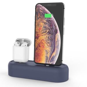 Charging Holder AhaStyle PT55 Apple AirPods & iPhone Silicon 2in1 Navy Blue