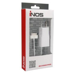 Travel Charger inos Apple 30-pin with Extra USB A Output White 1.0A