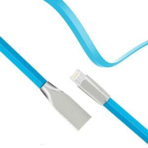 USB 2.0 Flat Cable inos USB A to Lightning Aluminium Series 1m Light Blue