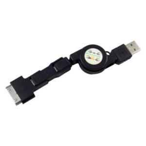 USB 2.0 Retractable Cable USB A to Micro USB/ Lightning/ 30-pin 3in1 Black (Bulk)