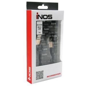 USB 2.0 Flat Cable inos USB A to Micro USB Reversible 1m Black