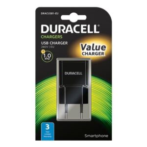 Travel Charger Duracell with Single USB 1.0A Black