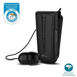 Stereo Bluetooth Headset iPro RH219s Retractable with Vibration Black