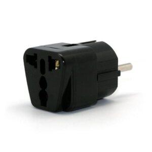3-pin UK & US to EU Travel Adapter Black