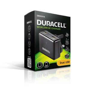 Travel Charger Duracell Worldwide EU/UK/US/AU with Dual USB Output 3.4A Black