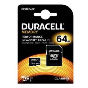 Micro SDHC C10 UHS-I U1 Performance Memory Card Duracell 80MB/s 64GB + 1ADP