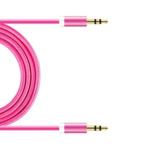 Audio Aux Cable Braided inos 3.5mm/3.5mm 1m Fuchsia
