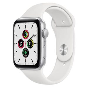 Apple Watch SE GPS 44mm Silver Aluminum Case With Sport Band White