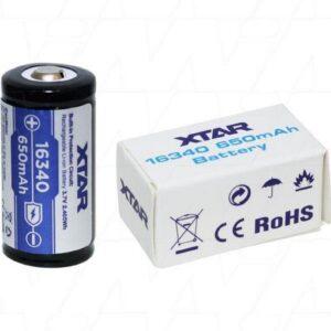 Rechargable Ιndustrial Τype Βattery Xtar 16340 Li-ion 650mAh 3.7V Protected