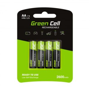 Rechargeable Battery Green Cell GR01 2600 HR6  mAh size AA 1.2V Pcs 4