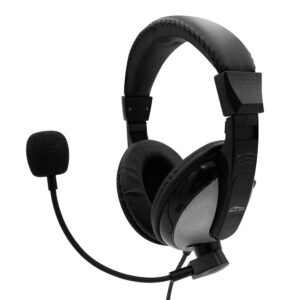 Stereo Headphone Media-Tech TURDUS PRO MT3603 with Dual 3.5mm Connector for Gamers and Adjustable Microphone. Black