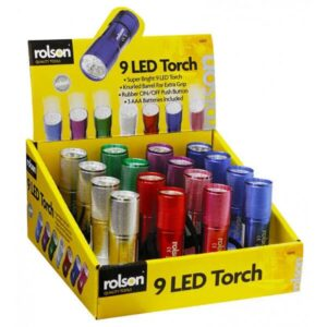 Torch Rolson 9 LED with 3 AAA Batteries of Various Colors