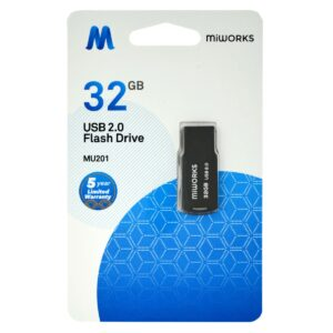 Flash Drive Mini MiWorks MU201 32GB USB 2.0 Black
