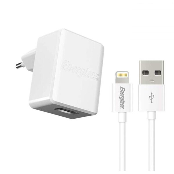 Travel Charger Ancus Energizer Series 1A with Data Cable Lightning 1m White Apple Certified MFI