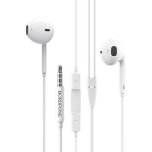 Hands Free Borofone BM30 Original Series Stereo 3.5 mm White with Micrphone and Operation Control Button