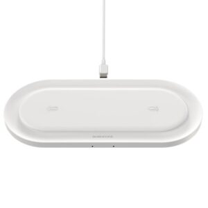Wireless Charger Borofone BQ7 Prominent Dual Charge of 18W Total for Qi Devices White