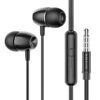 Hands Free Hoco Borofone BM57 Platinum Earphones Stereo 3.5mm  with Micrphone and Control Button 1.2m Black