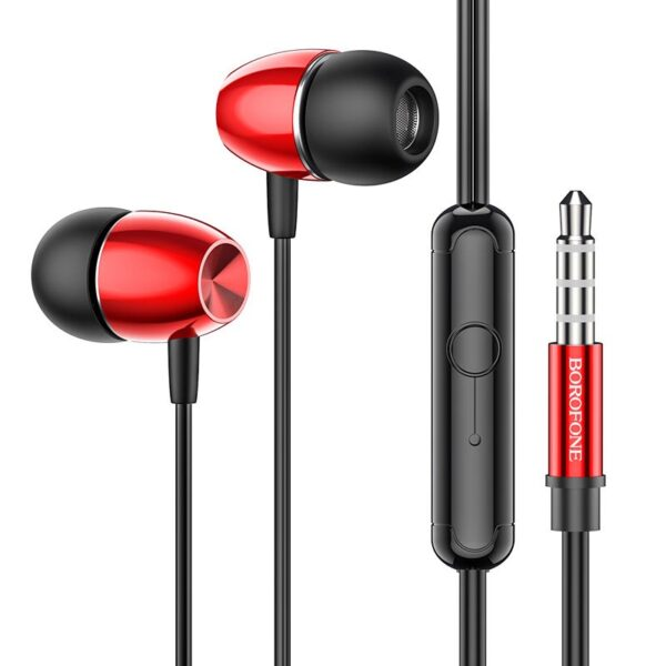 Hands Free Hoco Borofone BM57 Platinum Earphones Stereo 3.5mm  with Micrphone and Control Button 1.2m Red