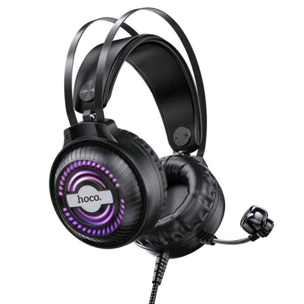 Stereo Gaming Headphone W101 Streamer dual 3.5mm and USB connection with Microphone and LED Light of 7 Colors Black