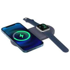 Desktop Holder Ahastyle PT135 for Apple iPhone 13 Series & iWatch MagSafe Charger Silicon 2in1 Blue